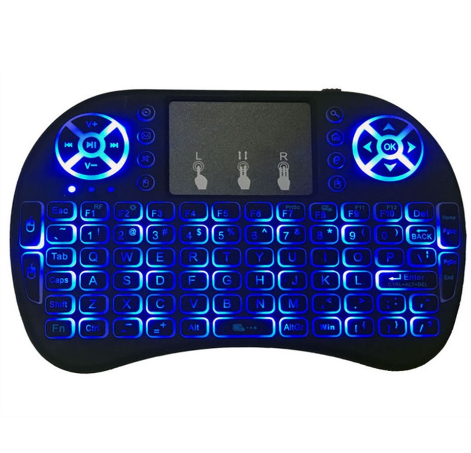 Mini Teclado Air Mouse Touch Sem Fio Tv Box Wireless com Luz Backlit