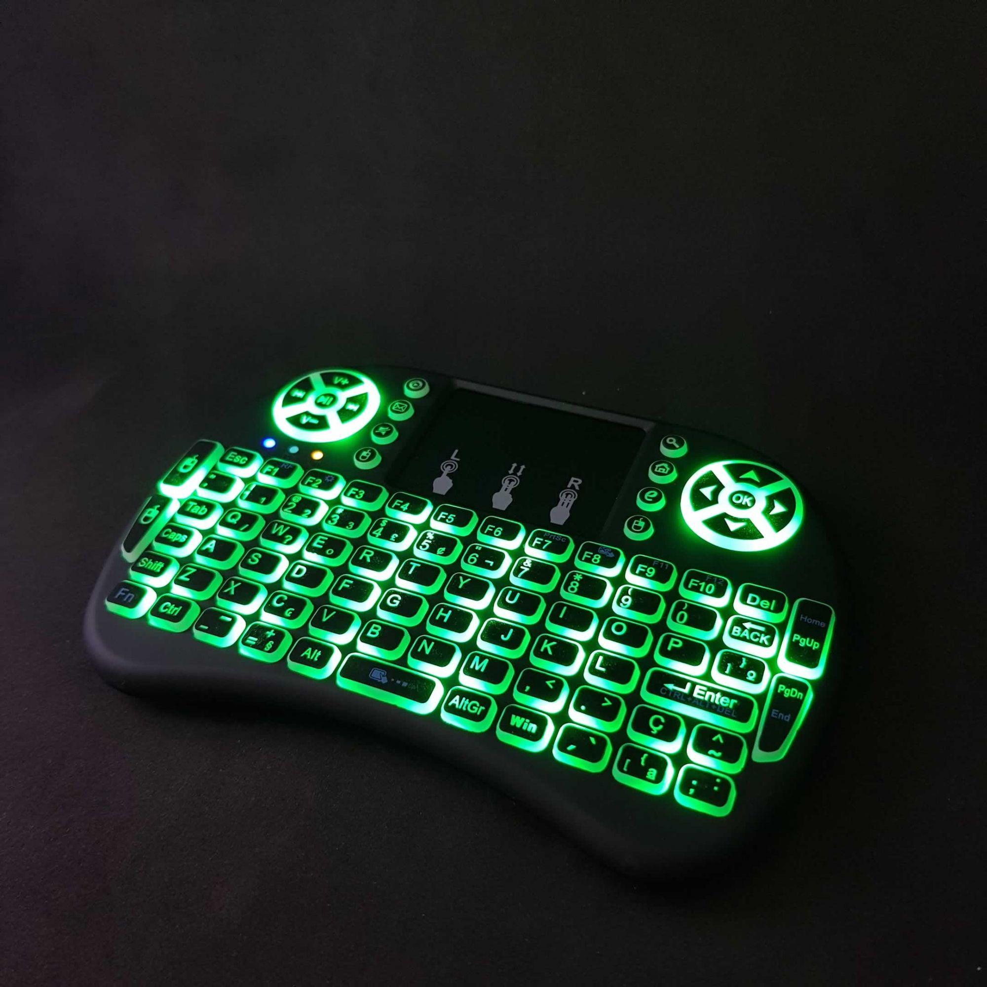 Mini Teclado Air Mouse Touch Sem Fio TVBox com LED Backlit KEY-7383