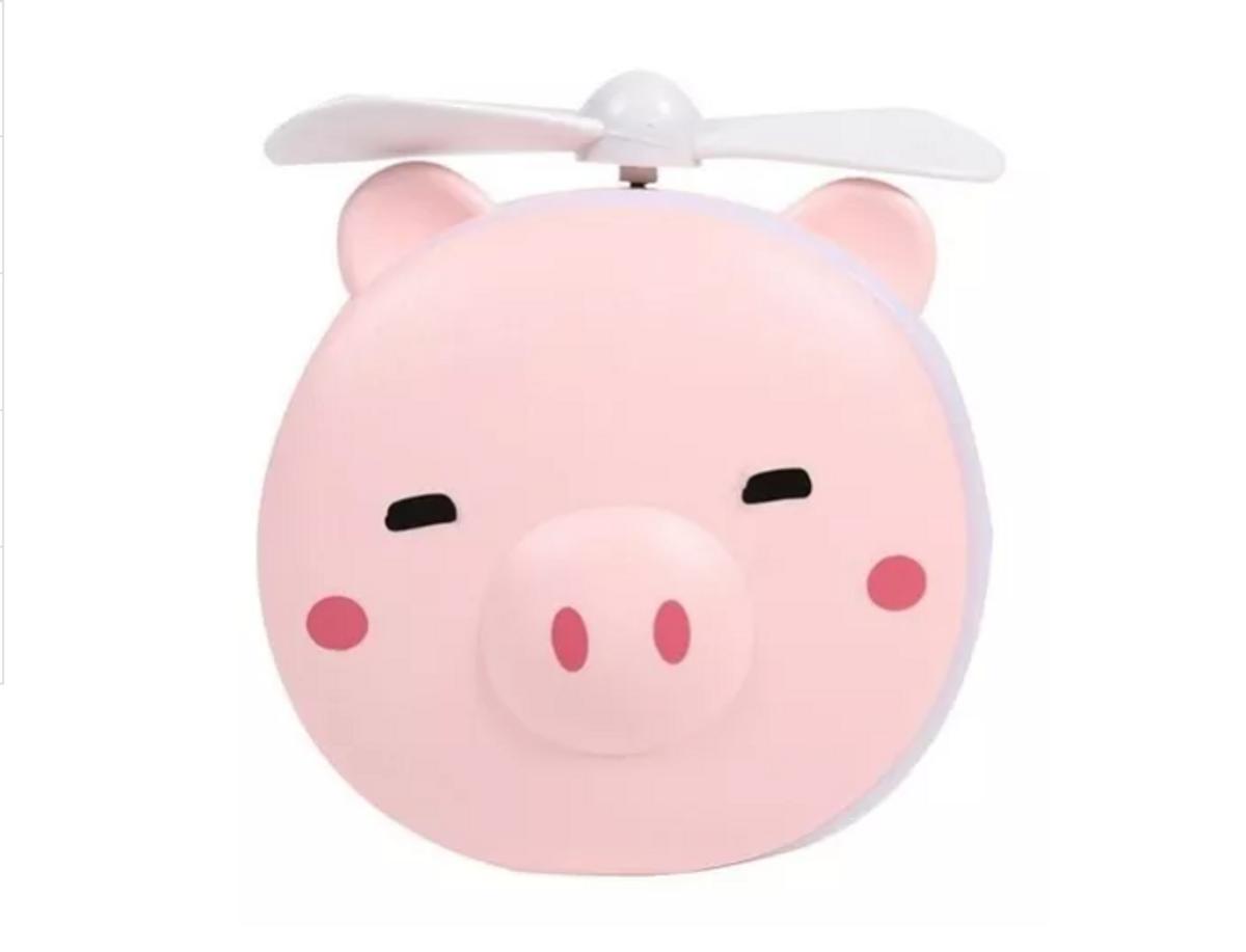 Mini Ventilador com Espelho LED USB porquinho rosa