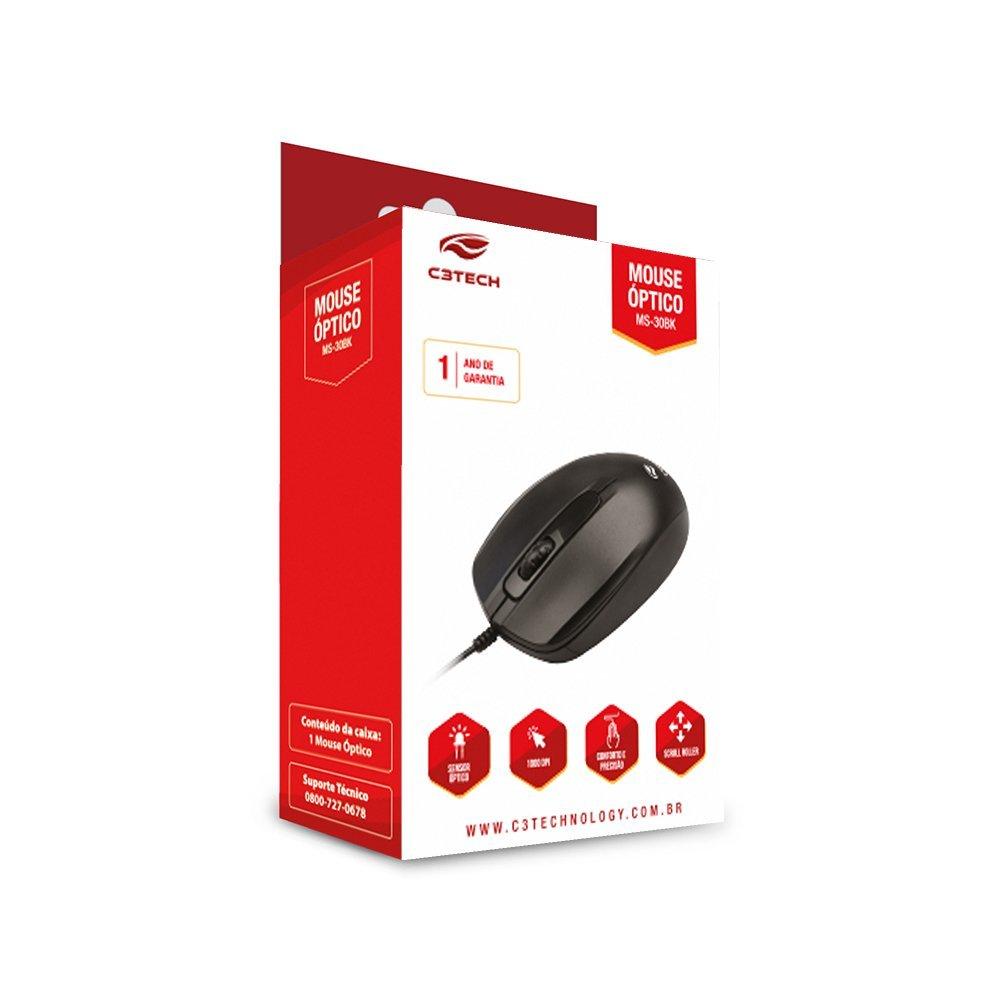 Mouse com Fio Óptico 1000dpi Preto MS-30BK C3Tech