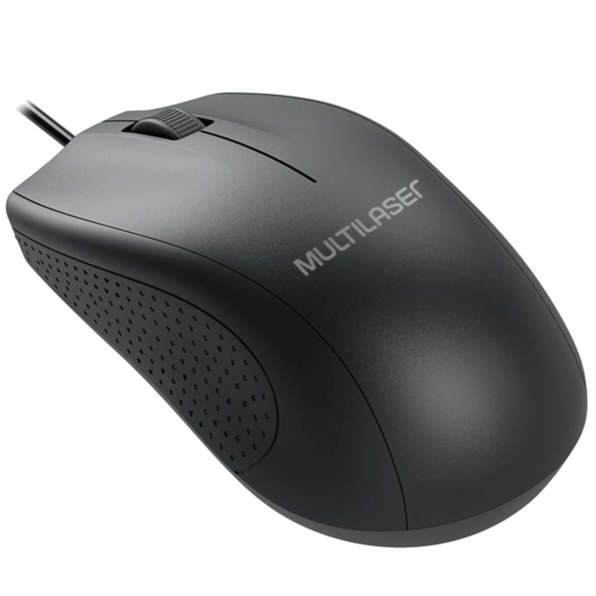Mouse Com Fio USB Preto 1200dpi Multilaser MO308