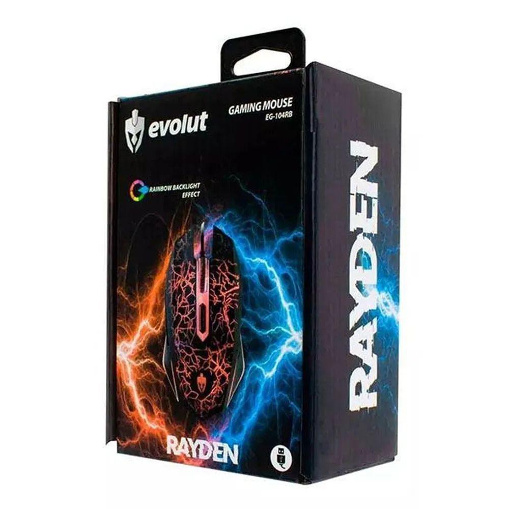 Mouse Gamer Rayden Evolut com LED Efeito Rainbow 2400DPI EG-104RB