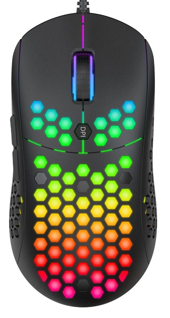 Mouse Gamer Ultra Leve Evolut Keppni RGB 10000DPI Botões Laterais