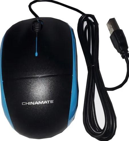 Mouse Óptico Com Fio 1000dpi USB Azul CM11B Chinamate
