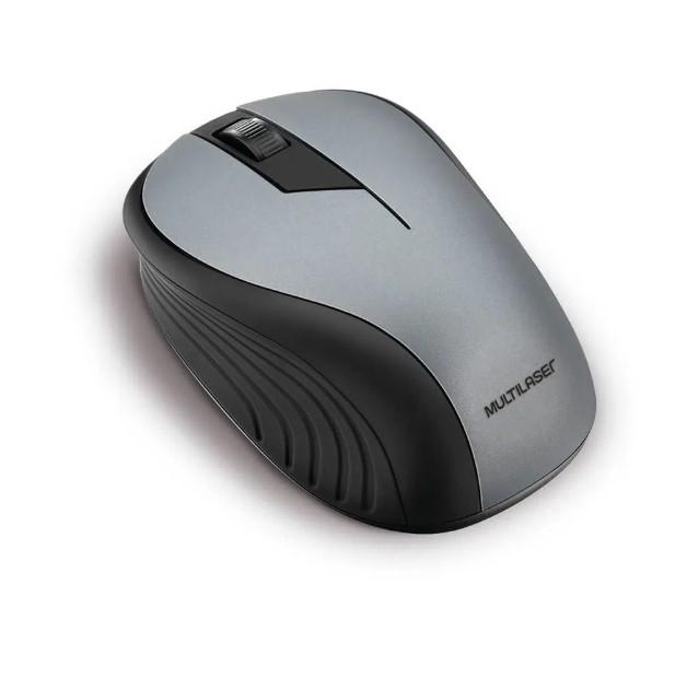 Mouse Sem Fio 1200dpi Preto com Cinza MO213 Multilaser