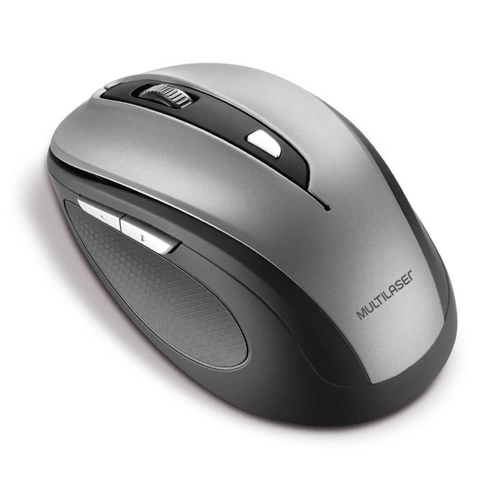 Mouse Sem Fio Multilaser 2.4 Ghz Comfort 6 Botões Cinza E Preto Usb - MO238