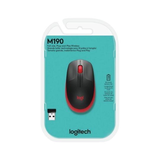 Mouse Sem Fio USB 1000dpi Preto e Vermelho M190 Logitech