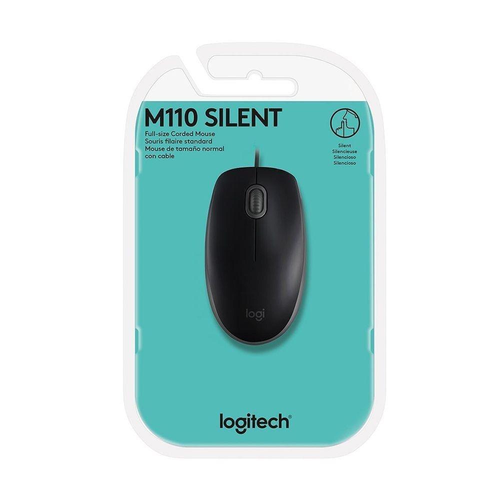 Mouse Silencioso com Fio USB Preto M110 Logitech