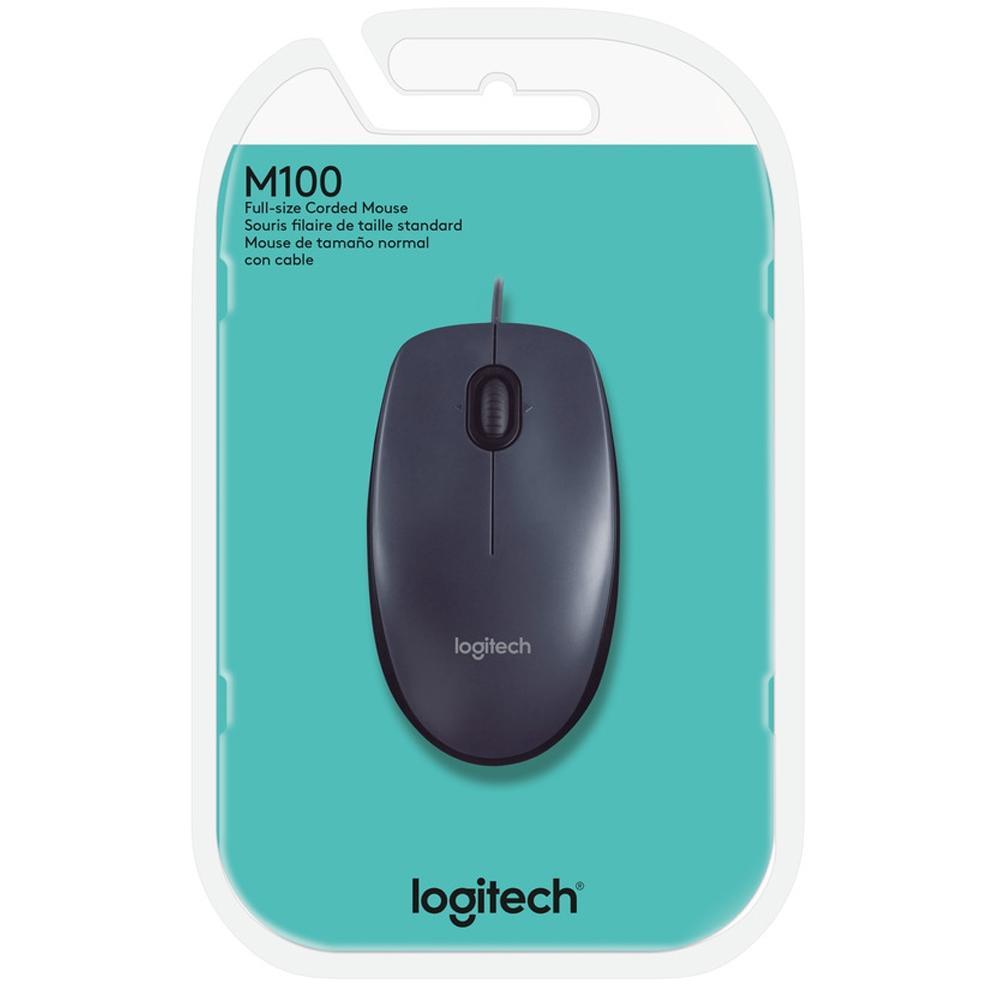 Mouse USB com Fio para PC Logitech M100
