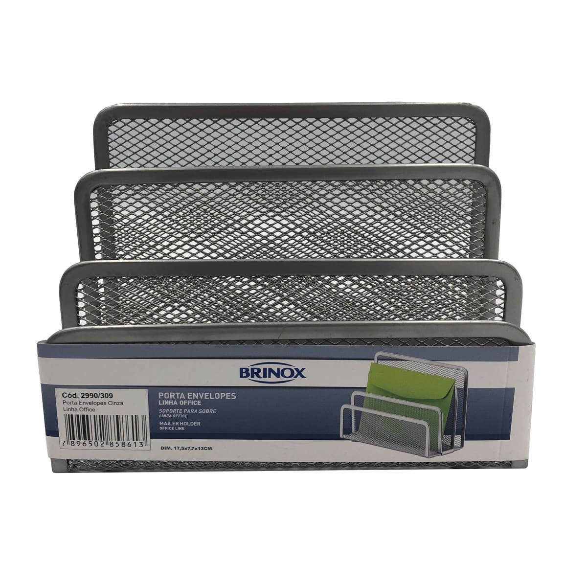 Organizador Porta Envelopes Office Cinza 2990/309 Brinox