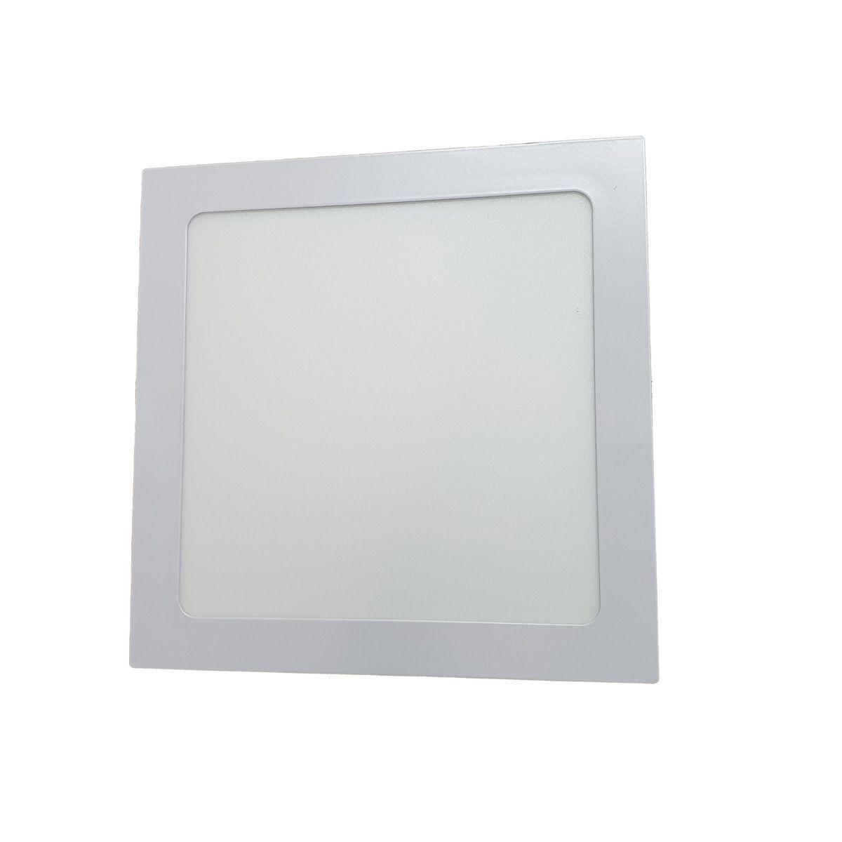 Painel Plafon LED 18w Quadrado Luminaria Embutir Branca Luz Quente