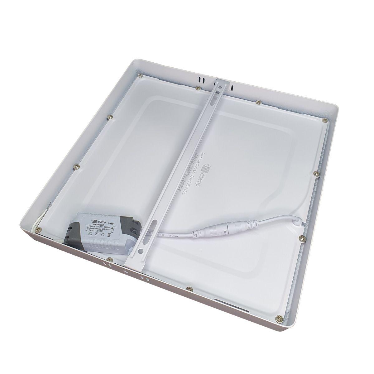 Painel Plafon Led 24w Quadrado Luminaria Sobrepor Branco Luz Frio DL-121