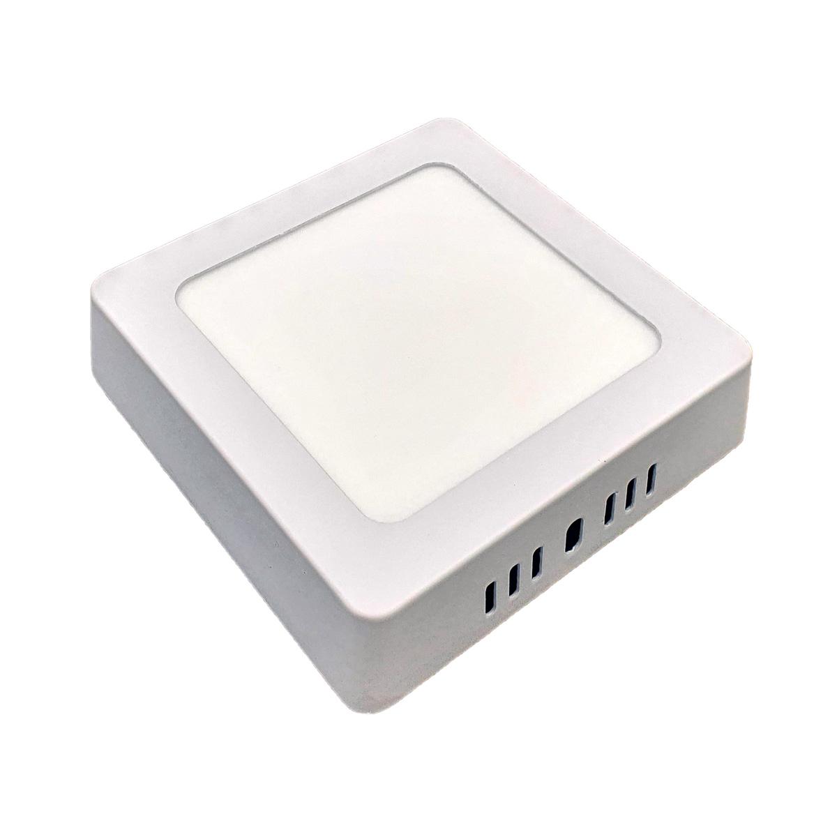 Painel Plafon LED 6w Quadrado Luminaria Sobrepor Branco Luz Quente