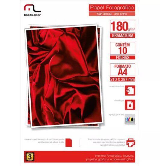 Papel 180gr Foto Glossy Inkjet Fotografico A4 com 10 folhas Multilaser