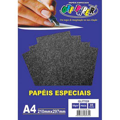 Papel Glitter Preto 180gr Com 5 Folhas A4