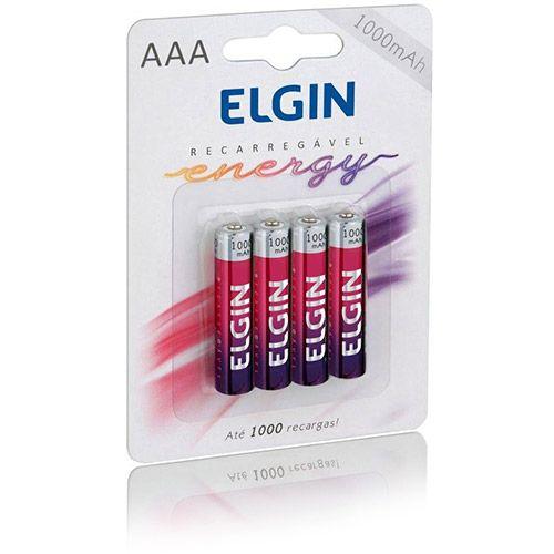 Pilha Recarregáveis AAA 1000mAH Elgin pacote com 4 pilhas
