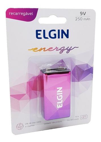Pilha Bateria 9V 250mAh Recarregável Energy Elgin