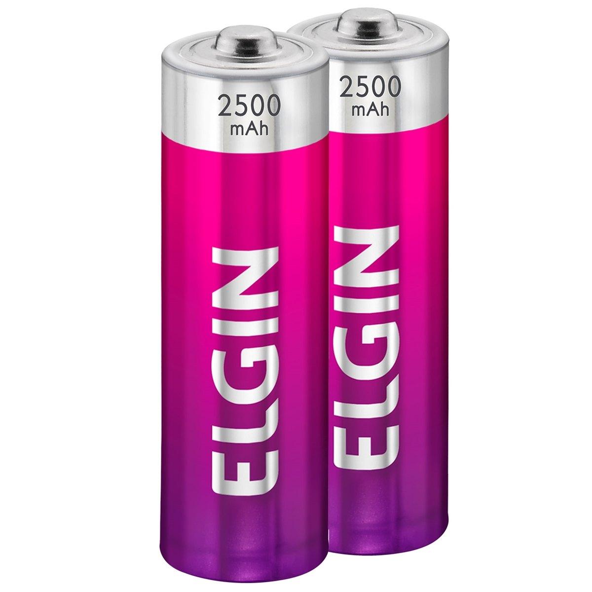 Pilha Recarregáveis AA  2500mAH Elgin pacote com 2 pilhas