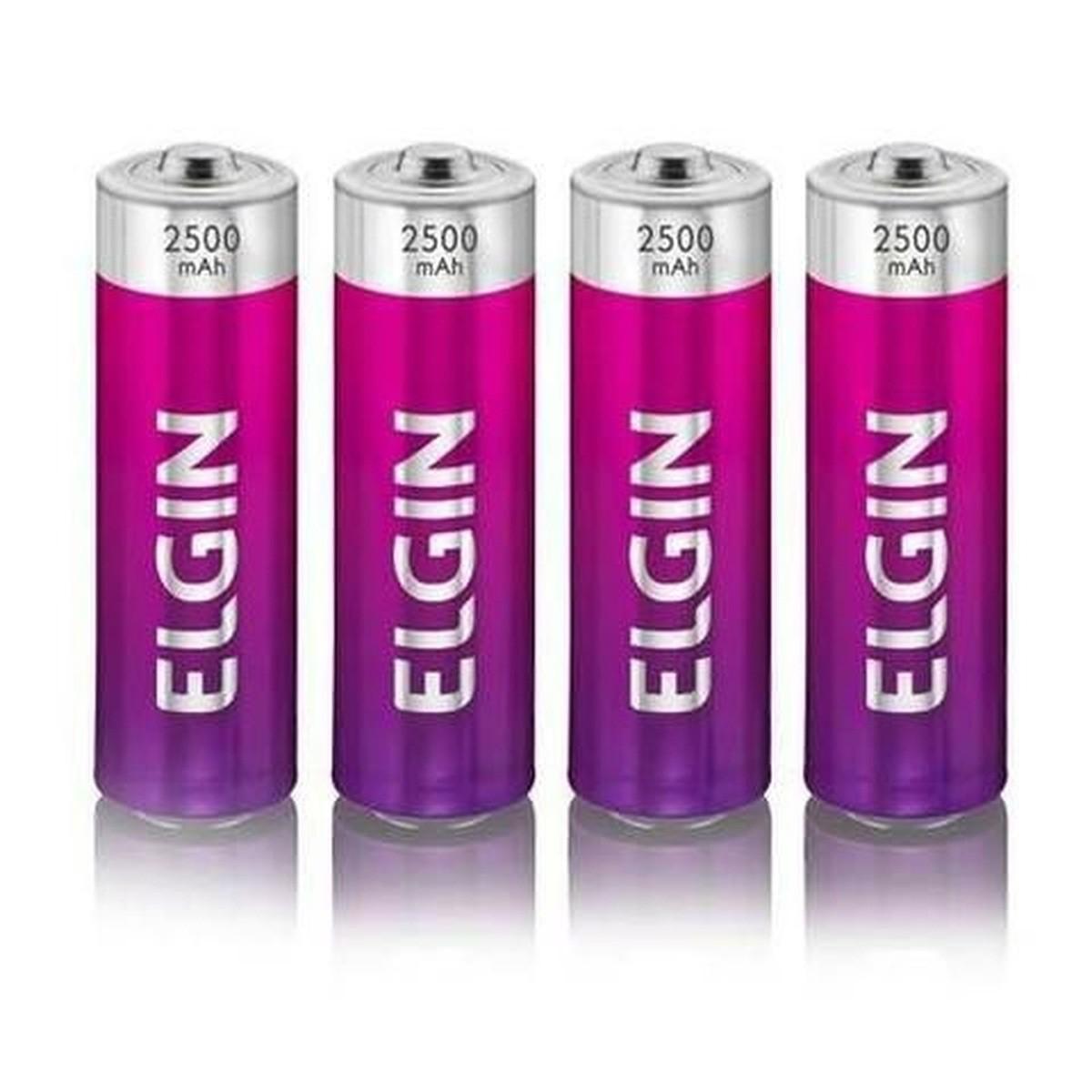 Pilha Recarregável AA 2500mAh Elgin pacote com 4 pilhas