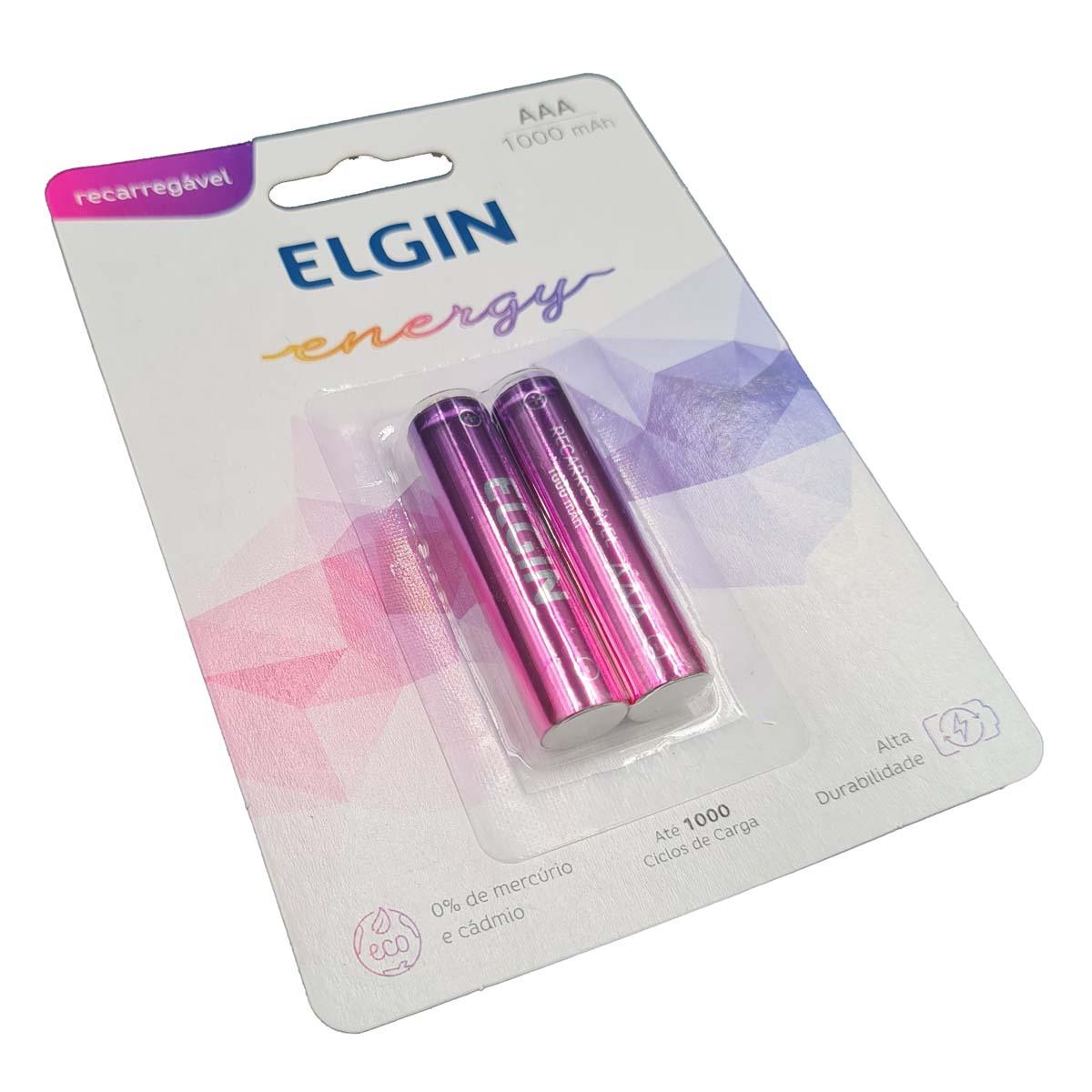 Pilha Recarregável AAA 1000mAH Elgin pacote com 2 pilhas