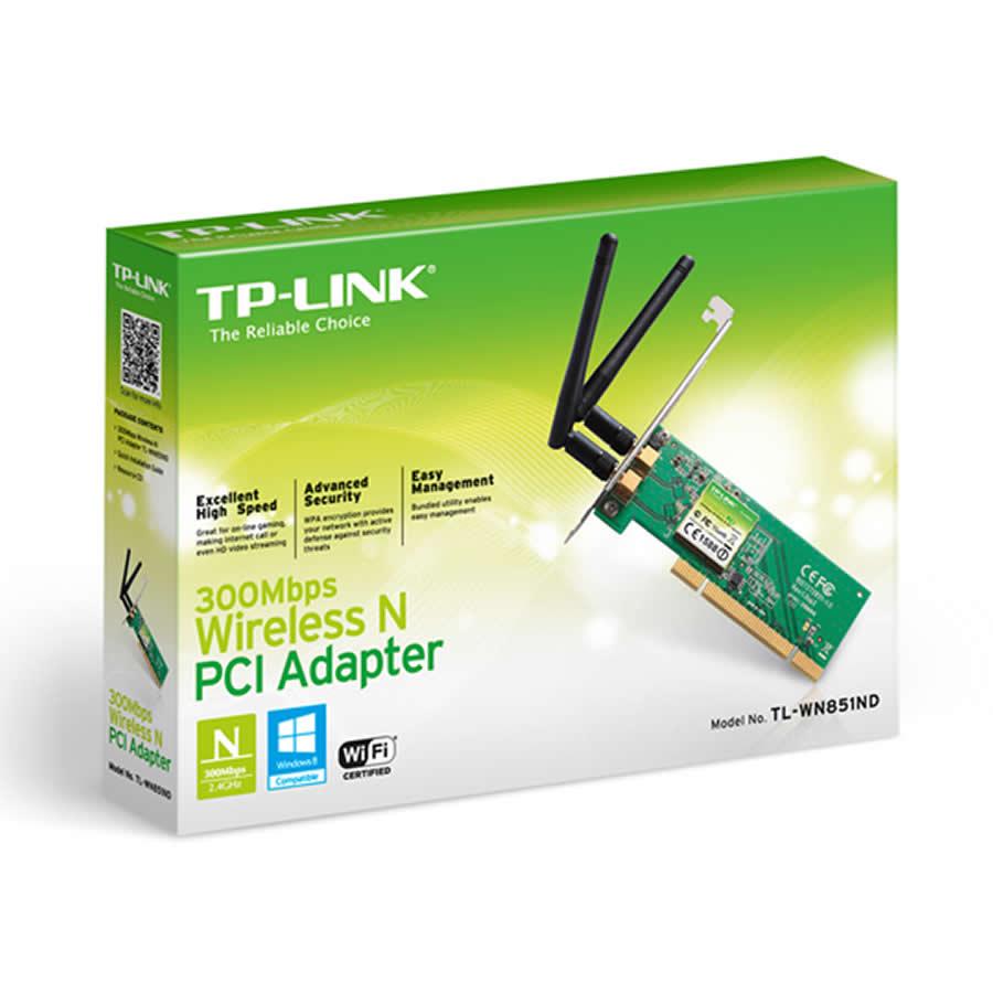 Placa de Rede Wireless PCI 300Mbps TP-Link TL-WN851ND