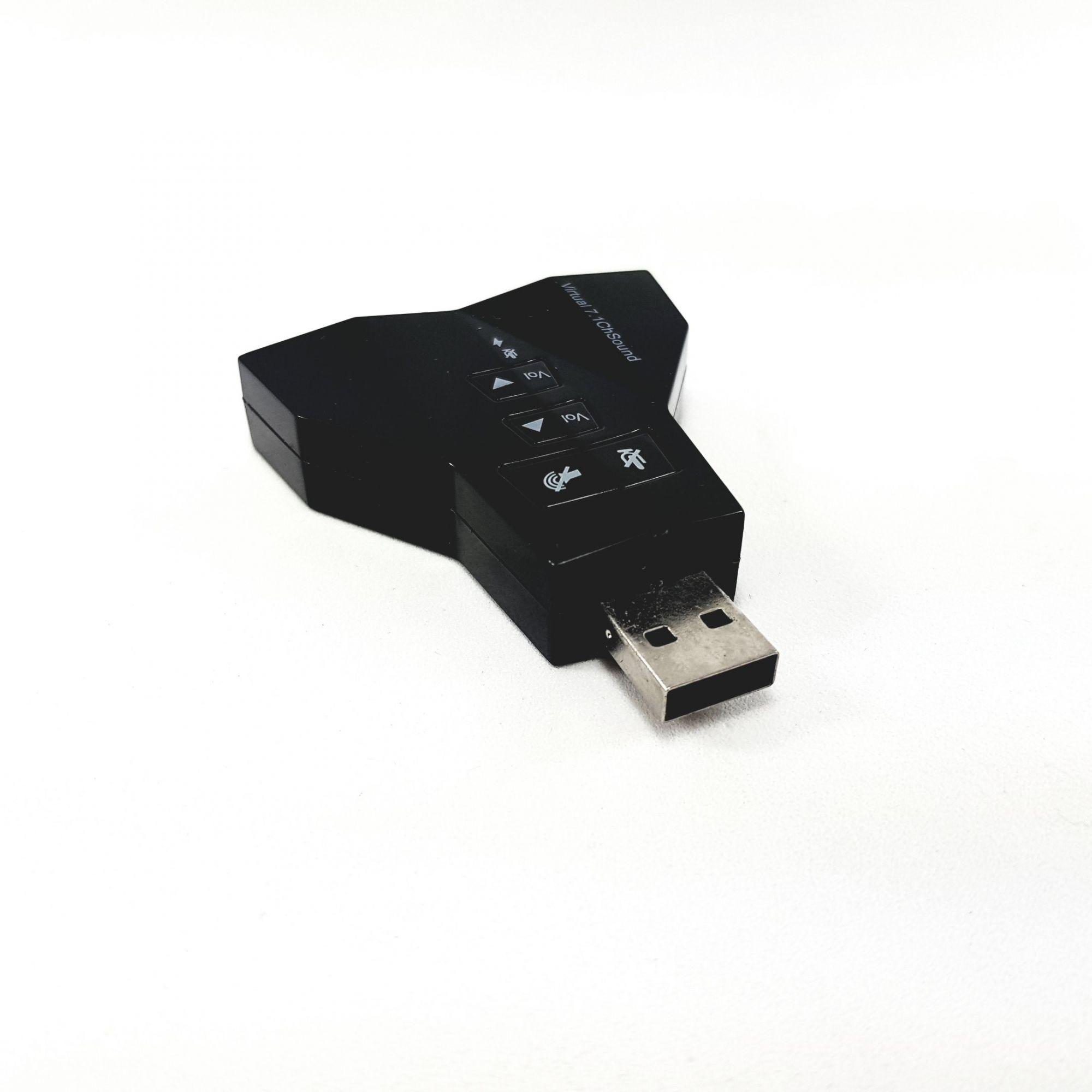 Placa de Som USB 7.1 Dupla Ideal para Virtual DJ para 2 fones