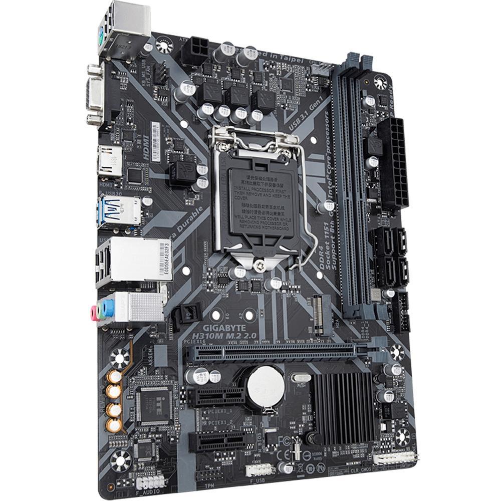 Placa-Mãe H310M M.2 2.0. Intel LGA 1151. mATX. DDR4 Gigabyte