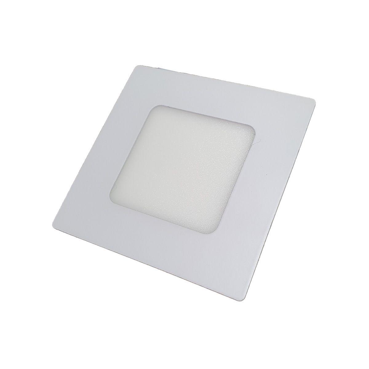 Painel Plafon LED 3w Quadrado Luminaria Embutir Branco Luz Quente