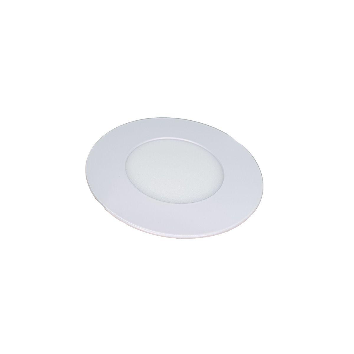 Painel Plafon LED 3w Redonda Luminaria Embutir Branco Luz Quente