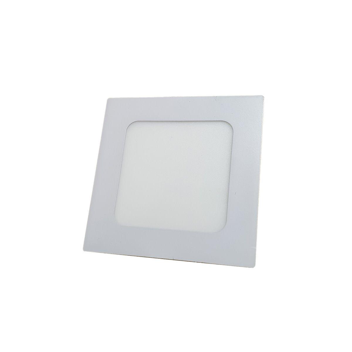 Painel Plafon LED 6w Quadrado Luminaria Embutir Branco Luz Quente