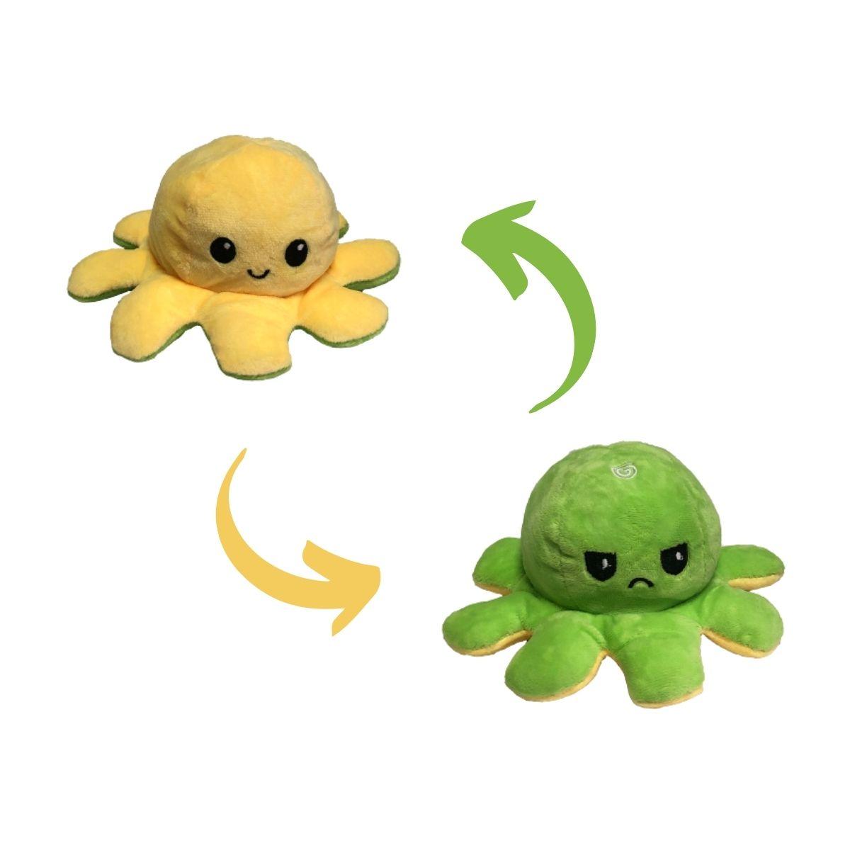 Polvo do Humor Reversível de Pelúcia para Crianças 17x12cm Amarelo e Verde