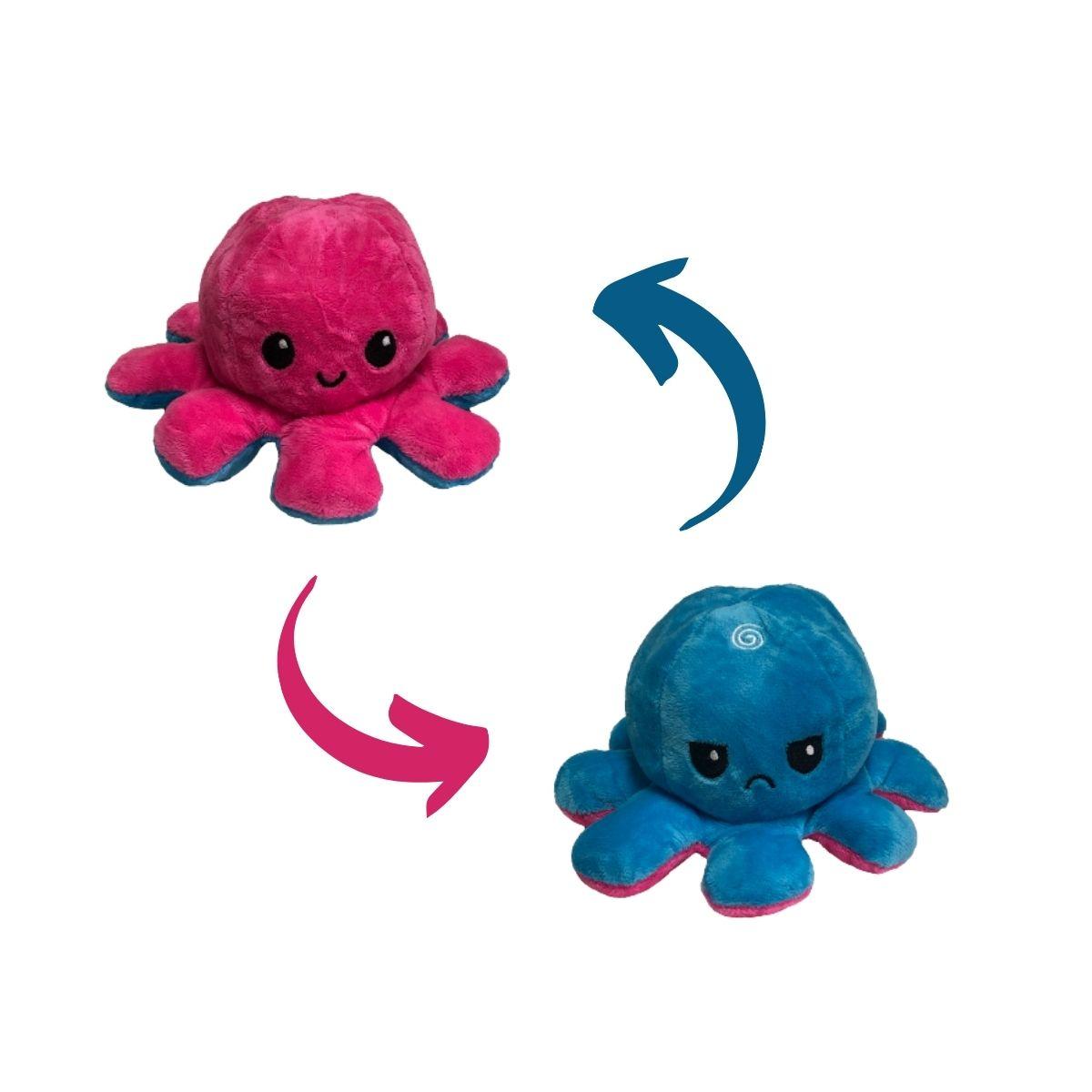 Polvo do Humor Reversível de Pelúcia para Crianças 17x12cm Pink e Azul