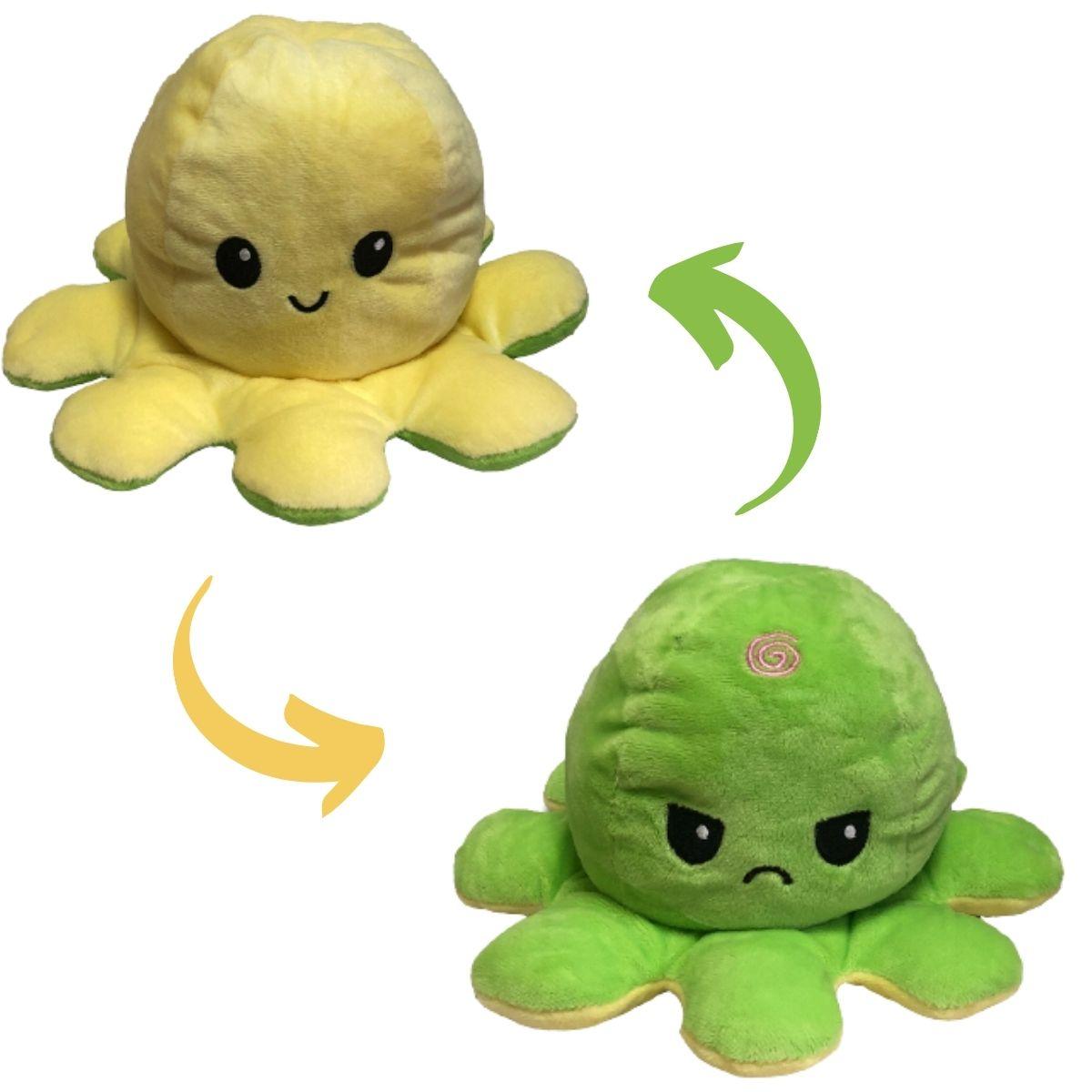 Polvo do Humor Reversível de Pelúcia para Crianças 23x15cm Amarelo e Verde