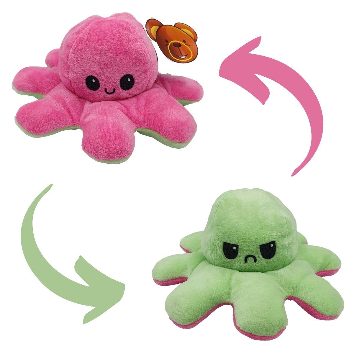Polvo do Humor Reversível de Pelúcia para Crianças Rosa Pink e Verde