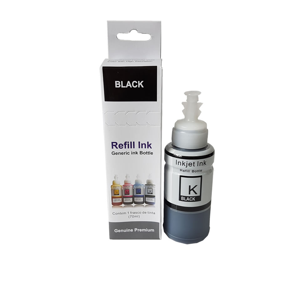 Refil De Tinta Black Preto 70ml para Epson L200 L220 L110 L355 L365 L210 L375