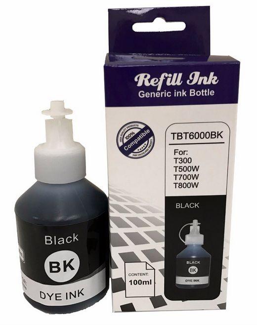 Refil de tinta compatível para Brother PRETO TBT6000bk 100ML T300 T500W T700W T800W