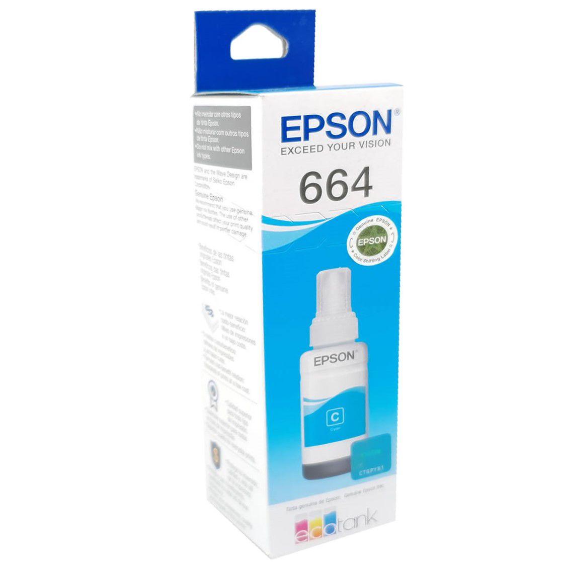 Refil de Tinta EPSON 664 Ciano 70ml para ecotank L355 L375 L395 L455