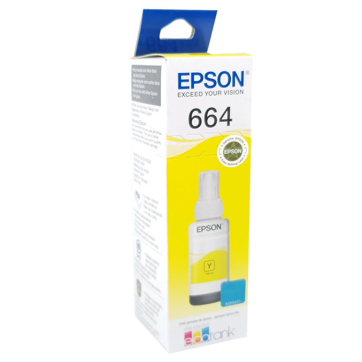 Refil de Tinta EPSON 664 Amarelo 70ml para ecotank L355 L375 L395 L455