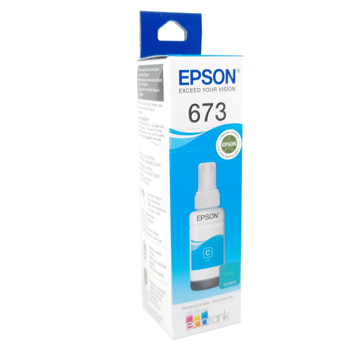 Refil de Tinta EPSON T673220 Ciano 70ml para ecotank L800 L805 L810 L850 L1800