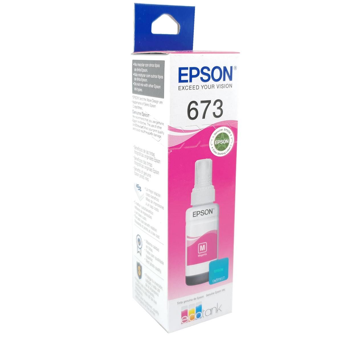 Refil de tinta EPSON T673320 Magenta 70ml para ecotank L800 L805 L810 L850 L1800