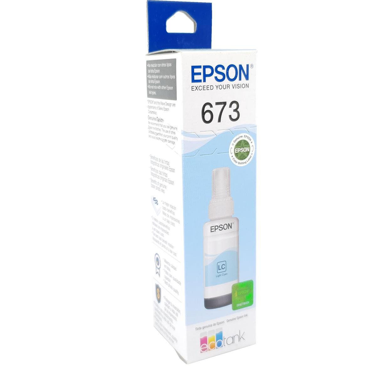 Refil de Tinta EPSON T673520 Ciano Claro 70ml para ecotank L800 L805 L810 L850 L1800