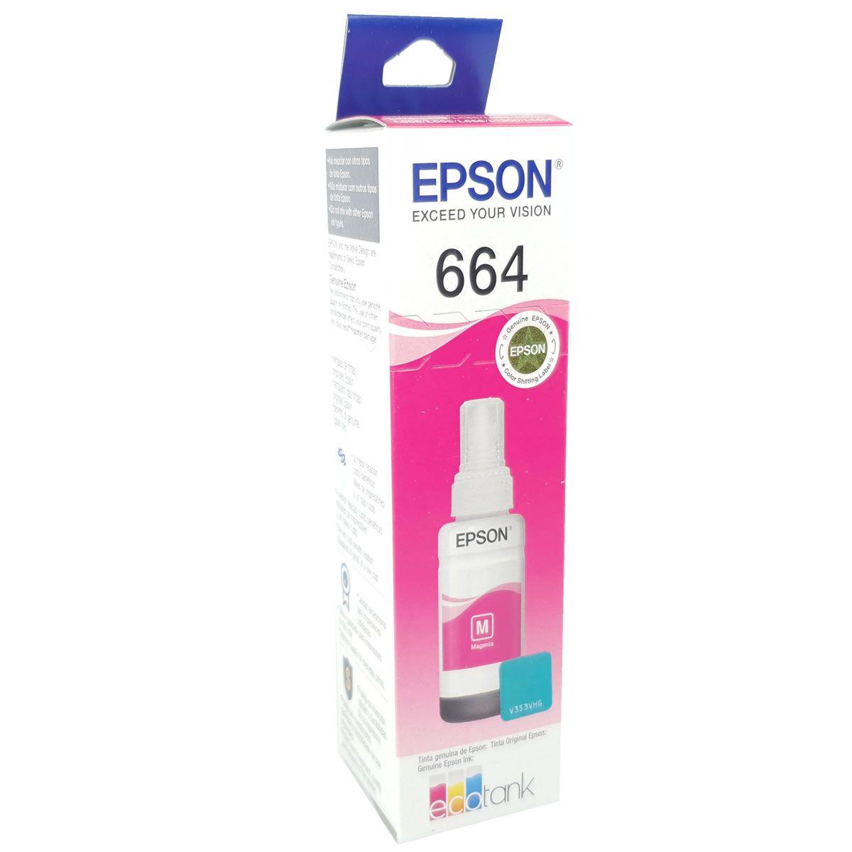 Refil de Tinta EPSON 664 Magenta para ecotank L355 L375 L395 L455