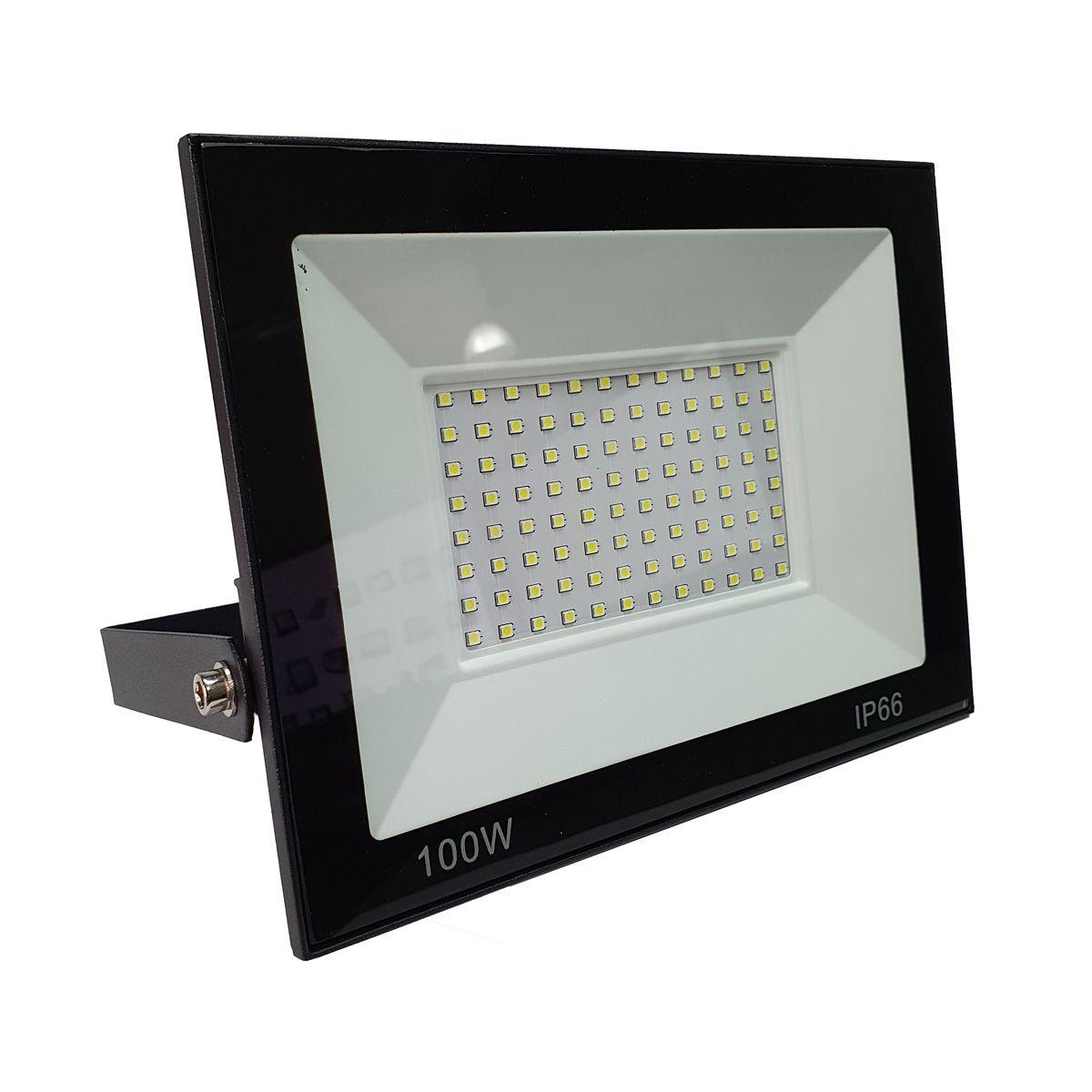 Refletor LED 100w SMD Holofote Bivolt Prova Água Ip66 Luz Branca