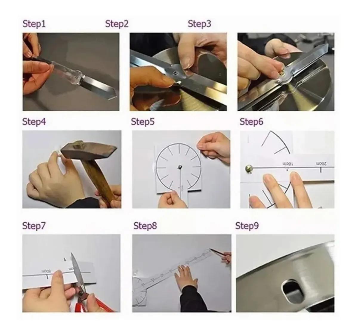 Relógio de Parede 3D Adesivo DIY para Decoração de Casa