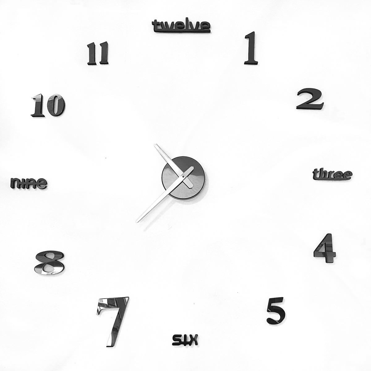 Relógio De Parede Adesivo Espelhado Redondo Diy Decorativo