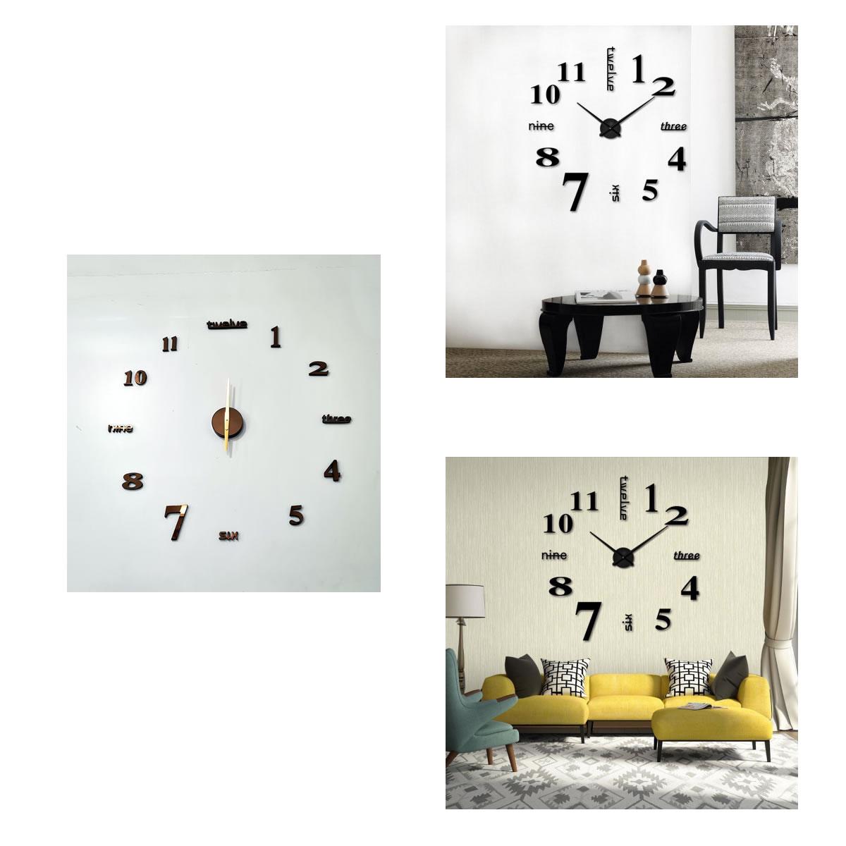 Relógio de Parede Adesivo Espelhado Redondo DIY Decorativo Silver