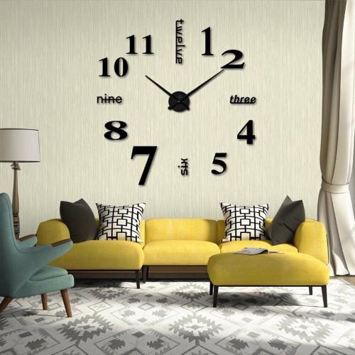 Relógio de Parede 3D Adesivo DIY para Decoração de Casa Preto