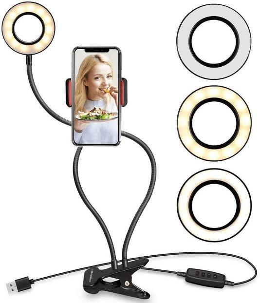 Ring Light com Suporte para Mesa Articulado com Controle