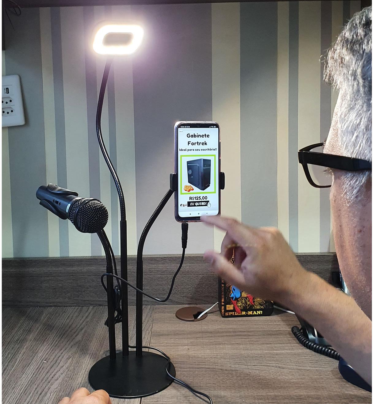 Ring Light e Suporte para Microfone e Celular para Vídeo foto