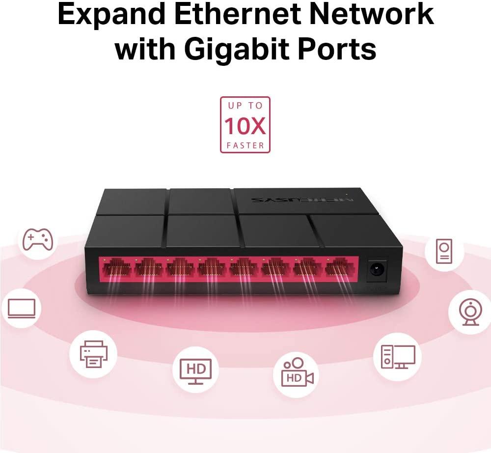Switch de Rede com 8 Portas 10/100/1000 Gigabit MG108G Mercusys